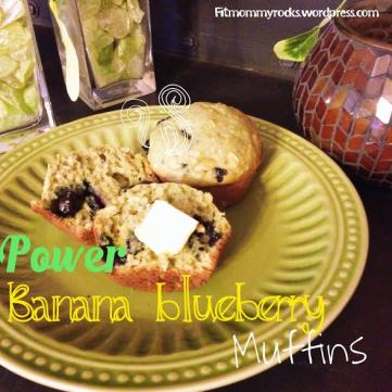 POWER Banana Blueberry Muffins-- w/ Greek Yogurt & Oats