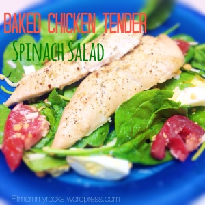 Baked Chicken Tender Spinach Salad